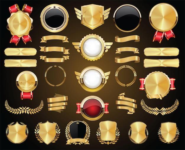 황금 배지 레이블 월계수 방패 및 금속판 컬렉션 프리미엄 벡터