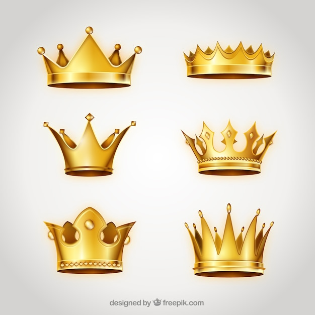 Collection of golden crowns Free Vector