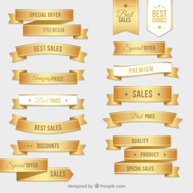 Collection of golden labels Free Vector