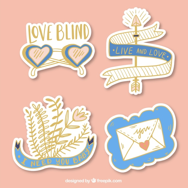 Collection of golden love stickers with blue details