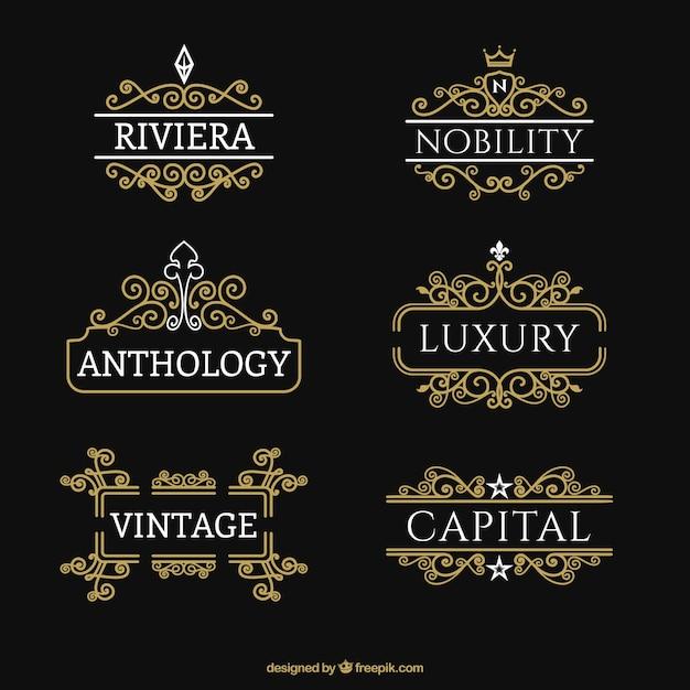 Alphabet Collection In Golden Color: Collection Of Golden Ornamental Logos Vector