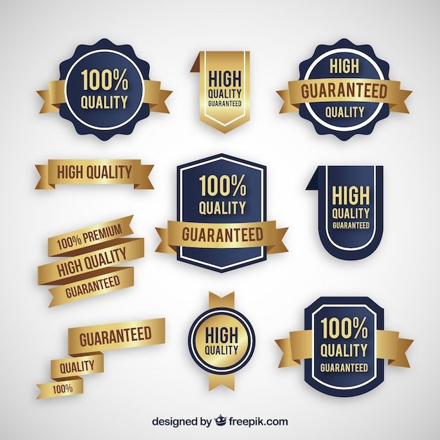 Collection of golden stickers of quality products free vector