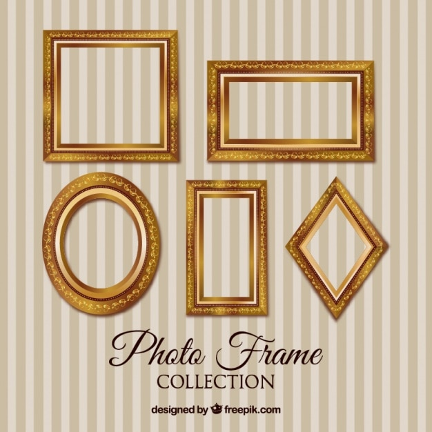collection of golden vintage picture frames vector free