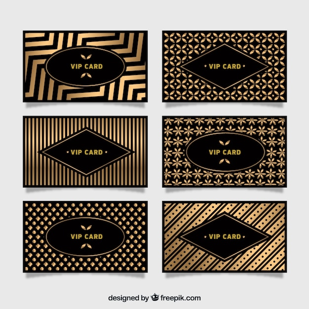 Collection of golden vip cards with patterns