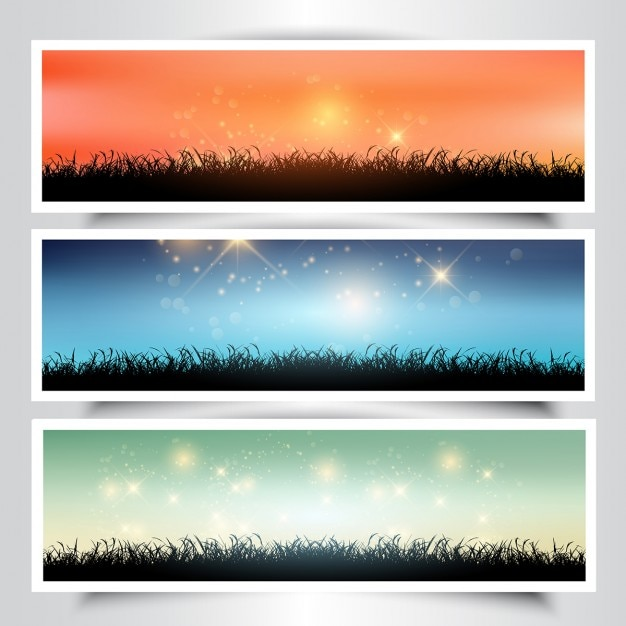 Collection of grassy landscape banners