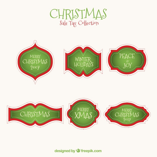 Collection of green christmas labels