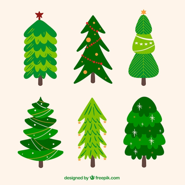 collection of green christmas trees in different shapes free vector - Different Christmas Trees