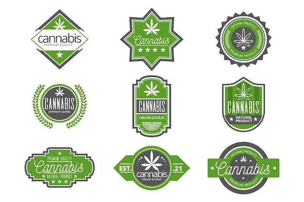 Коллекция значков зеленой медицинской каннабиса Бесплатные векторы