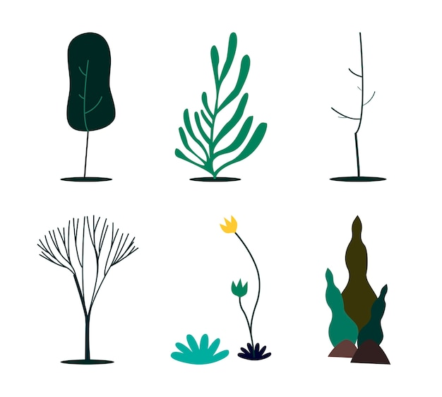 Collection of green nature concept illustration Free Vector