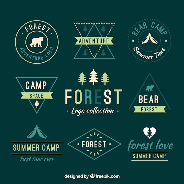 Collection of green nature logos