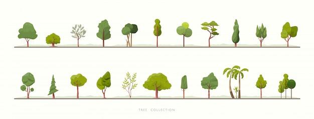 Коллекция зеленых деревьев векторных иконок Premium векторы