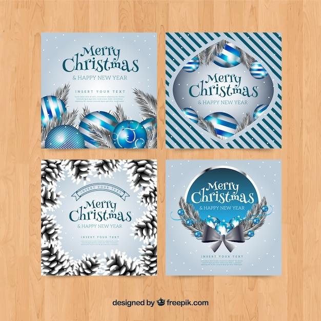 Collection of greeting cards for christmas in silver
