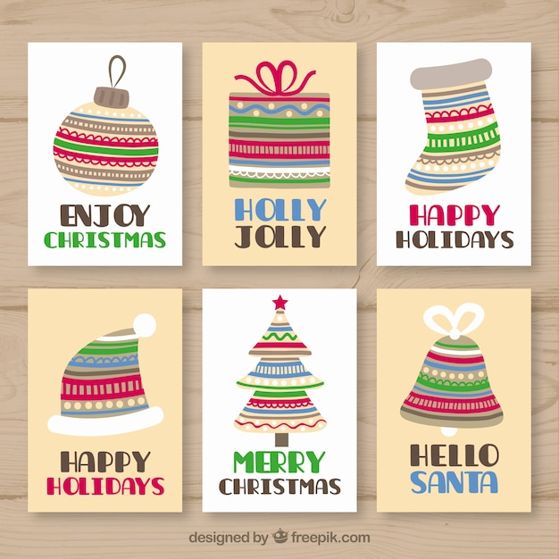 Collection of greeting cards for christmas with striped elements