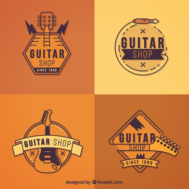 collection of guitar logos in orange tones vector free download. Black Bedroom Furniture Sets. Home Design Ideas