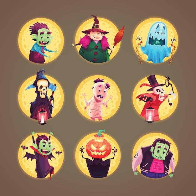 ハロウィーンの漫画のキャラクターのアイコンのコレクション。図。 Premiumベクター