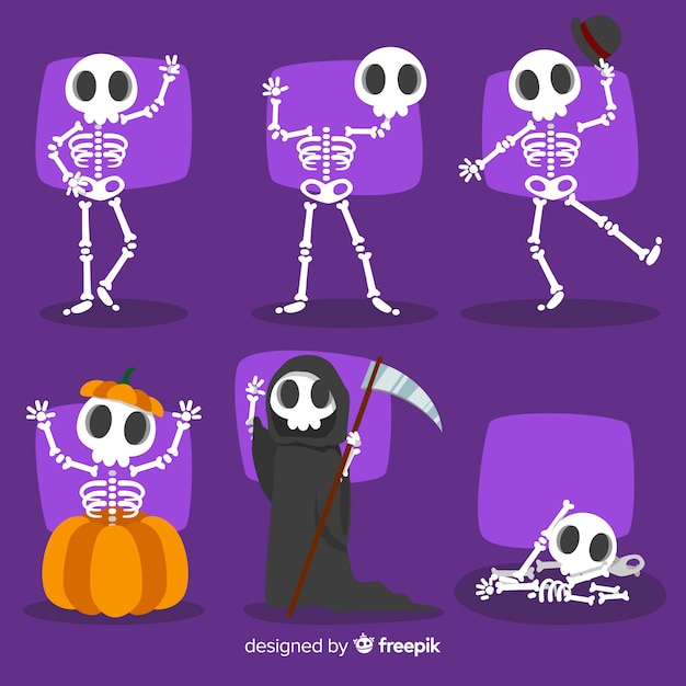 Collection of halloween characters in cartoon style Free Vector