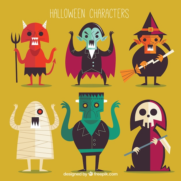 Collection of halloween characters in flat design