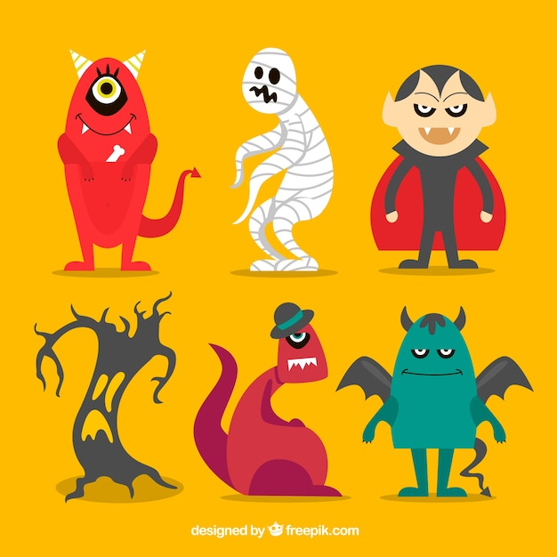 Collection of halloween characters with monsters
