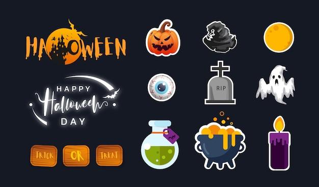 Коллекция значка хэллоуина в квартире. симпатичный дизайн иконок. иллюстрация. Premium векторы