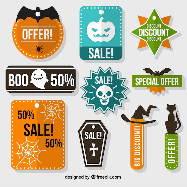 Collection of halloween sale labels Free Vector