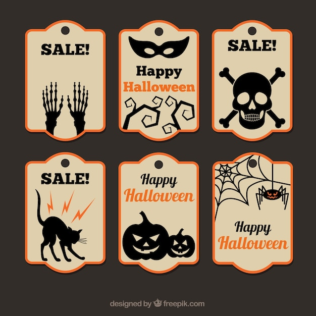 Collection of halloween sale tags Free Vector