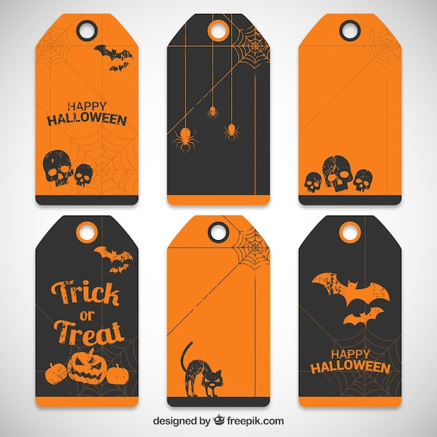 Collection of halloween tags Premium Vector