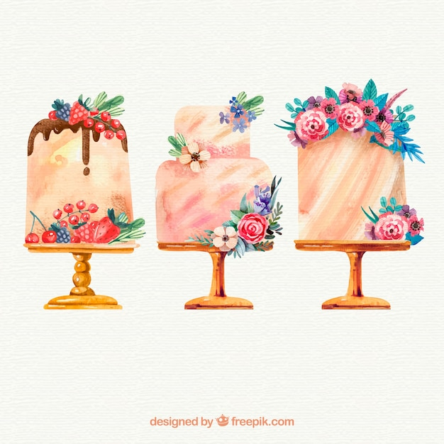 Collection of hand drawn birthday cakes Vector Free Download