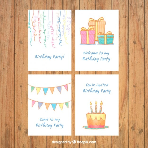 Collection Of Hand Drawn Birthday Invitation Vector Free Download - Birthday invitation vector free