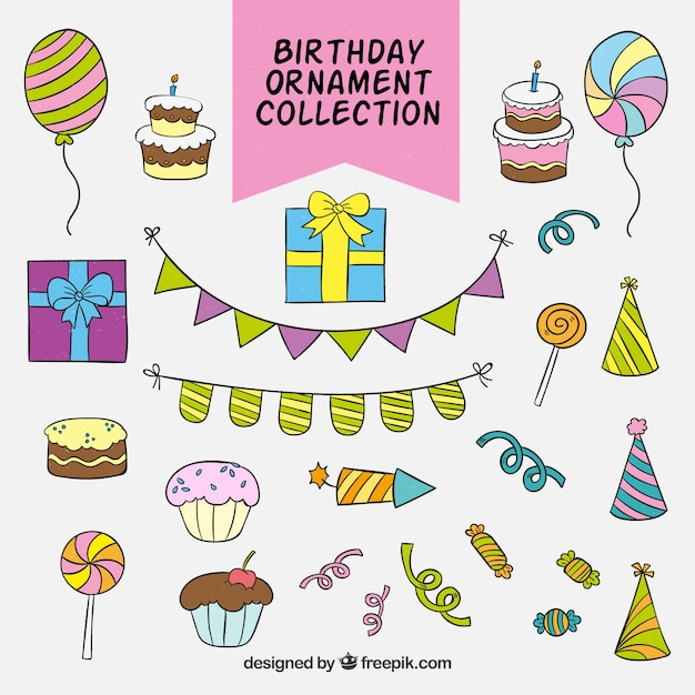 download vector collection of hand drawn birthday ornaments
