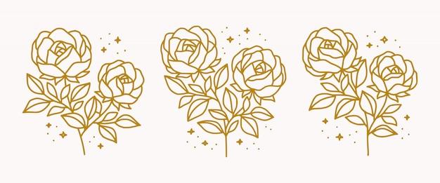 아름다움 여성 로고 요소 손으로 그린 식물 금 장미 꽃의 컬렉션 프리미엄 벡터