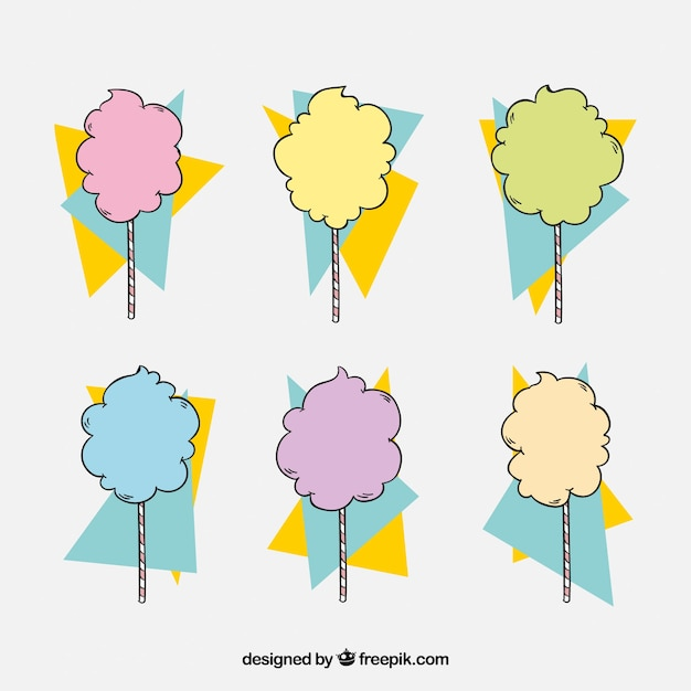 Collection of hand drawn candy cotton with abstract shapes