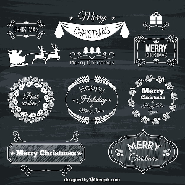Collection of hand drawn christmas bades Premium Vector