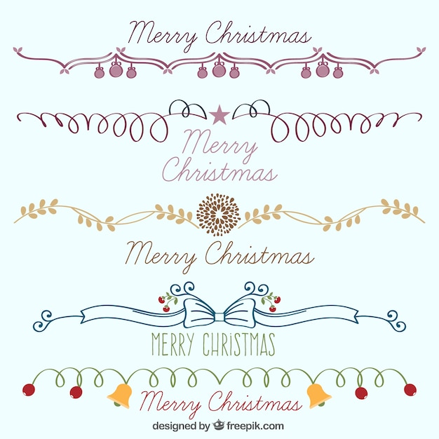 collection of hand drawn christmas borders free vector - Merry Christmas Border