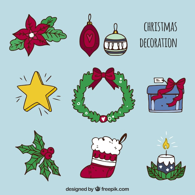 Collection of hand drawn christmas decorative elements