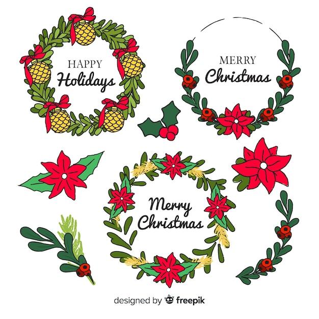 Коллекция рисованной рождественский цветок Бесплатные векторы