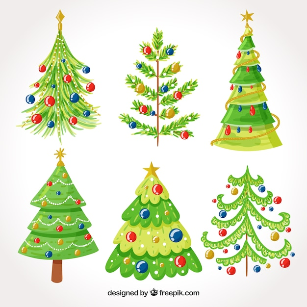 Collection of hand drawn christmas tree with nice decoration