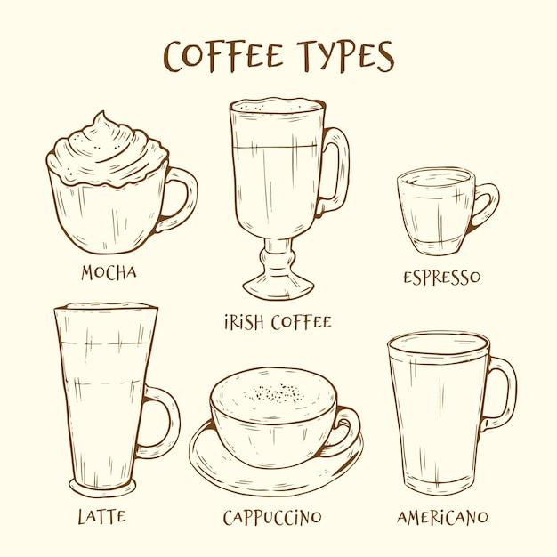 Коллекция рисованной типов кофе Бесплатные векторы