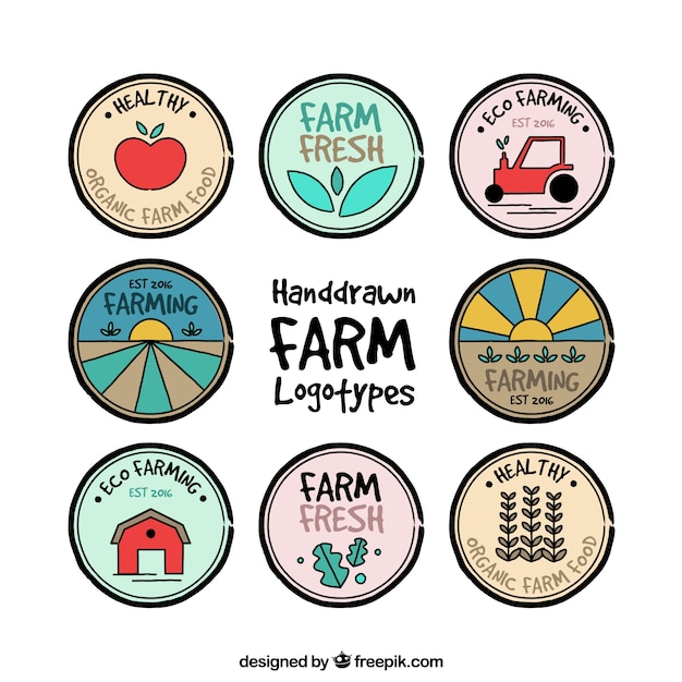 collection of hand drawn colored farm logo vector free download rh freepik com