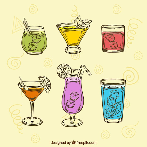 Collection of hand drawn drink