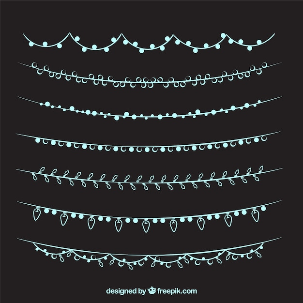 String Lights Psd : Collection of hand drawn elegant string lights Vector Free Download
