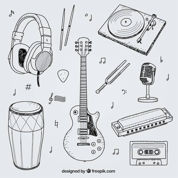 Collection of hand drawn elements for a music studio Free Vector