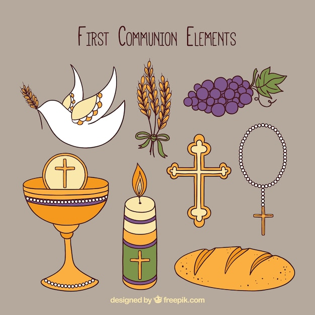 Collection of hand drawn elements of\ communion