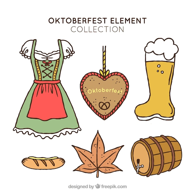 Collection of hand drawn elements of oktoberfest