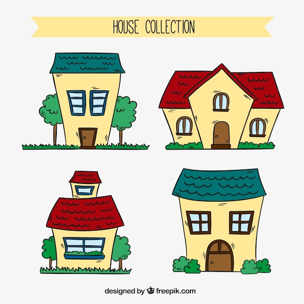 Collection of hand drawn facades houses