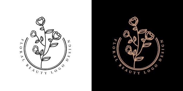手描きの女性の美しさと花の植物の最小限のロゴのコレクション Premiumベクター