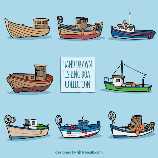 Collection of hand drawn fishing boats vector free download for Free fishing boats