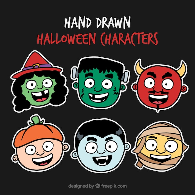 Collection of hand drawn halloween characters stickers
