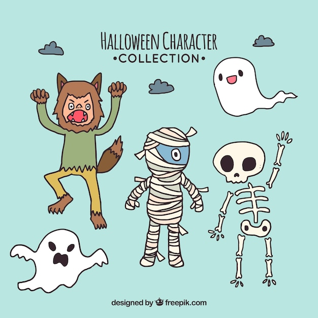 Collection of hand drawn halloween characters