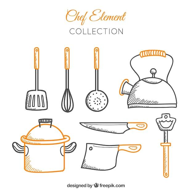 Коллекция ручной работы кухонной утвари Бесплатные векторы
