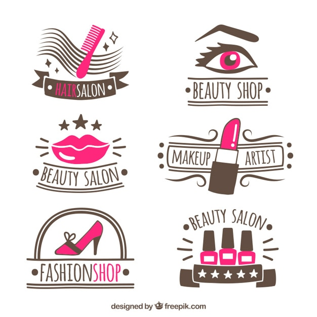 Collection of hand-drawn logos for beauty salon Vector ...